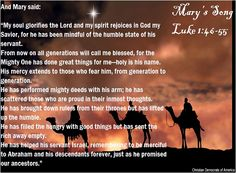 """Here at Christmas, we are reminded once again through Mary's song of praise how Jesus, even before His birth, exalted the humble and brought low the proud. """"Marys Song"""" - Merry Christmas Eve everyone!"""