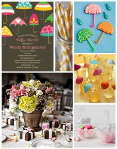 A playful & fresh umbrella-themed baby shower.