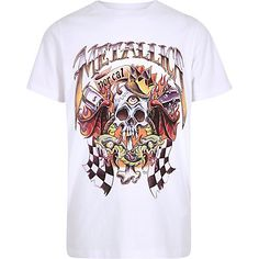 Boys white Metallica band print T-shirt Metallica Band, T Shirt Vest, Boys T Shirts, Short Sleeve Tee, River Island, Mens Tops, Crew Neck, Shopping, Polyvore