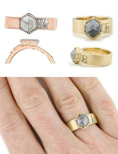 A grey hexagon cut rough diamond is set in an ultra-wide matte yellow gold band with assymetric accent stones. One-of-a-kind engagement ring by Abby Sparks Jewelry. Alternative Engagement Rings, Perfect Engagement Ring, Wide Band Rings, Designer Engagement Rings, Dainty Ring, Rough Diamond, Gold Bands, Custom Jewelry, Ring Designs
