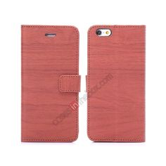 Wooden Texture flip stand leather case for iPhone 6 Plus 5.5inch with card slots - Red Brown US$10.69