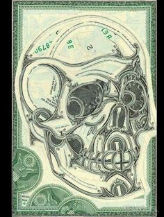 Skull Collage of Dollar Bills by Mark Wagner