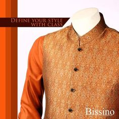 Traditional Jamawar Waistcoat Men's Wear Collection 2016-17 by Bissino
