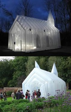 Transparante Kerk — an inflatable church in the Netherlands that pops up on demand. The brainchild of self-proclaimed philosopher Frank Los, Church Architecture, Modern Architecture, Structures Gonflables, Temporary Architecture, Instalation Art, Temporary Structures, House Deck, Church Design, Church Building