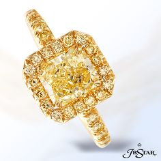Style 1061 Gorgeous 1.51ct radiant-cut fancy yellow diamond ring edged in micro pave and set in 18KY. #yellowdiamond #micropave #engagementring