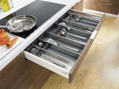 Functional furniture fittings from Blum, specialising in kitchen fittings and exhibiting at KBB London. Cupboard Drawers, Kitchen Drawers, Kitchen Cabinet Design, Base Cabinets, Diy Cabinets, Kitchen Cabinets, Kitchen Appliances, Cooking Utensils, Kitchen Utensils