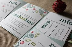 Perfect Paisley Wedding Invitation Collection shown in sky blue, olive green and coral, FREE shipping. $50.00, via Etsy.