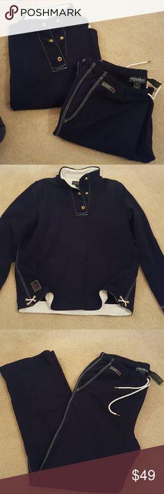"Ralph Lauren set Ralph Lauren sweat set. Navy Blue  100% cotton. 31"" inseam on pants. Drawstring elastic pants.   Top is a medium, pants are a large Ralph Lauren Tops"