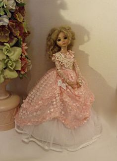 FITS ELLOWYNE AND LIKE SIZED DOLLS. Outfit includes dress, crinoline, shoulder sash, and arm gauntlets. The dress is made of soft pink lace with shimmery hearts. Bodice is accented with tiny rosettes.   eBay!