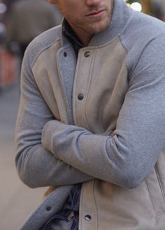 This men's baseball jacket with faux-sherpa lining is sure to keep you warm and stylish this winter season   Banana Republic