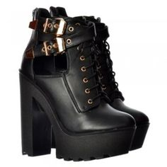 Onlineshoe Lace Up High Heel Platform Ankle Boots - Cut Out Sides Cleated Sole - Black PU - Onlineshoe from Onlineshoe UK