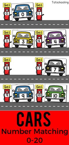 Free Printable Cars Number Recognition 1-20 from Totschooling