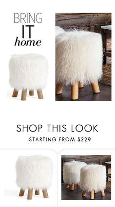 """""""Bring It Home: Mongolian Faux Fur Stool"""" by polyvore-editorial ❤ liked on Polyvore featuring interior, interiors, interior design, home, home decor, interior decorating, Pottery Barn and bringithome"""