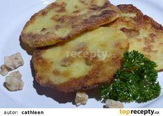 """Bramborový placky se škvarkama"" recept - TopRecepty.cz Camembert Cheese, Mashed Potatoes, Pork, Treats, Breakfast, Ethnic Recipes, Garlic, Whipped Potatoes, Kale Stir Fry"