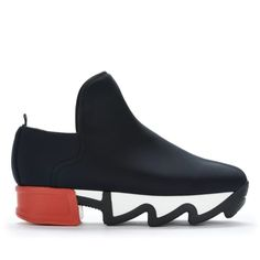 Designed in New York and Made in Italy. Unisex Neoprene Sneaker. Black and White Rubber Outsole with Red Heel.