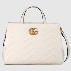 GUCCI Gg Marmont Matelassé Top Handle Bag - White Leather. #gucci #bags #shoulder bags #hand bags #suede #lining #