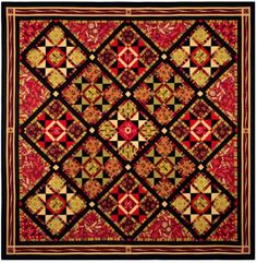 """Harvest Stars, 74"""" x 74"""". Made by Maggie Ball. Pattern available at Dragonfly Quilts on-line store."""