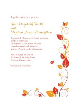 Autumn Foliage Wedding Invitation For Customizations:  Printableinvitationkits[at]gmail[dot]com