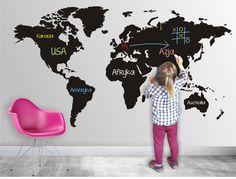 Naklejka- tablica kredowa, folia tablicowa, mapa - naklejsie - Naklejki na ścianę dla dzieci