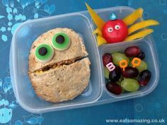 Easy Pitta Monster Lunch from 'Eats Amazing'...For more creative ideas for school lunches visi