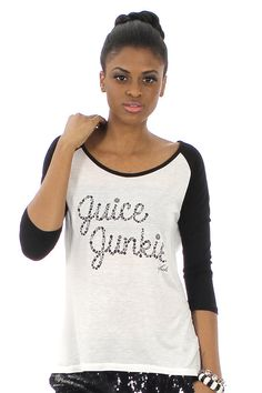 Who else is a Juice Junkie? Graphic Baseball Tee (Black, Gray, or Red) ♥ FavebyVfish on Etsy, $37.60