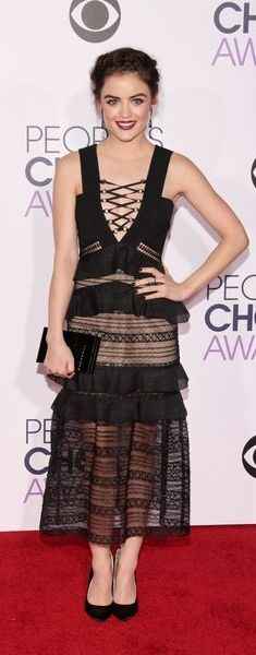 Lucy Hale In a Sheer Black Dress With Lace-Up Details // See all of the Celebrity Looks from the People's Choice Awards Red Carpet 2016: (http://www.racked.com/2016/1/6/10709350/peoples-choice-awards-red-carpet-2016#6248135)