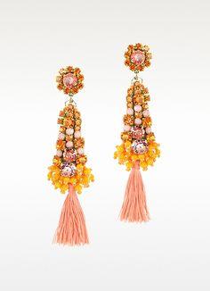Orange Crystals Drop Earrings - Radà