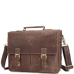 The fir layer of leather men's shoulder bag crazy horse leather retro men's bag leather trend personality briefcase male Brown Leather Messenger Bag, Leather Briefcase, Casual Bags, Classic Leather, Crossbody Shoulder Bag, Fashion Bags, Leather Men, Crazy Horse, Men's Bags