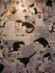 cats in this quilt: 'Uchi no nyanko' by Junko Inui - International Quilt Week Yokohama 2013 - Queenie's Needlework: November 2013 http://queeniepatch.blogspot.com/2013/11/international-quilt-week-yokohama-2013_17.html