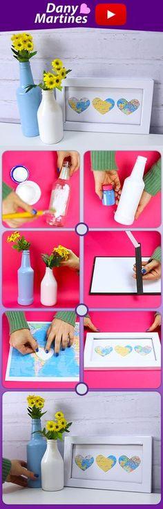 Faça você mesmo decoração com garrafas, quadrinho, DIY Tumblr, Do it Yourself