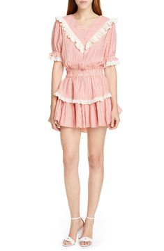Free shipping and returns on LoveShackFancy Nanette Minidress at Nordstrom.com. A modern take on prairie romance, a flirty party dress combines sweet stripes and eyelet ruffles in a short, flouncy cut with puffed sleeves.