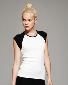 Bella - Ladies Baby Rib Cap Sleeve Raglan T-Shirt www.tshirtprinting.sg