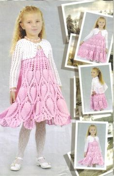crochet pineapple sundress with pretty bolero for young girl - stitch schematics included