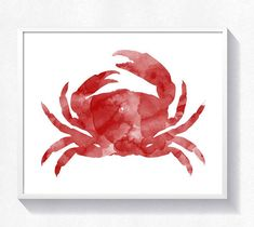 80%OFF Crab print red crab wall art crab watercolor sea