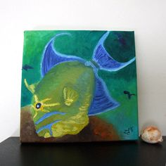 QUEEN TRIGGER FISH, Original 8x8 Oil Painting on Canvas, Tropical Fish Painting, Wall Art Home Accent via Etsy