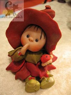 *POLYMER CLAY ~ Collectible doll - Leafa (Red)