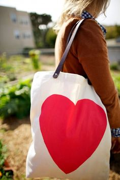 DIY Heart Tote with Leather Straps