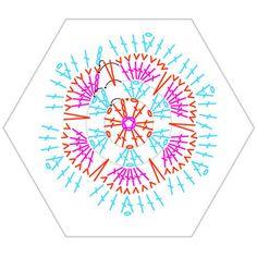 Crochet African Flower - Chart ❥ 4U // hf