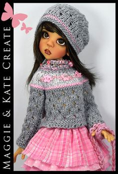 """OOAK Pink & Gray Outfit for Kaye Wiggs 18"""" MSD BJD by Maggie & Kate Create"""