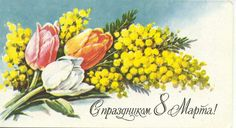 March 8 Soviet post cards USSR Ladies Day, March, Plants, Painting, Women, Painting Art, Paintings, Plant, Painted Canvas