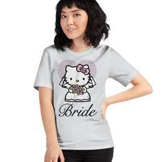 Hello Kitty Bride Tee. Officially Licensed Sanrio Hello Kitty Apparel Hello Kitty T Shirt, Sanrio Hello Kitty, Tee Design, Sweater Hoodie, T Shirts For Women, Bride, Hoodies, Tees, Sweaters