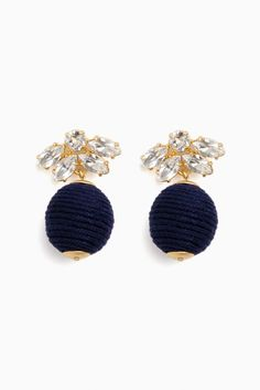 Navy Sparkle Petite Woven Lantern Earrings