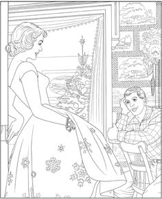 The Saturday Evening Post Christmas Treasury: Classic Ready-to-Frame Prints and Coloring Pages by Dover Publications Adult Coloring Book Pages, Flower Coloring Pages, Christmas Coloring Pages, Colouring Pages, Free Coloring, Coloring Books, Printable Coloring Sheets, Christmas Colors, Easy Drawings