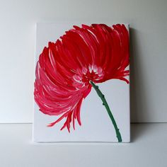 Be really cool to do this with bright pink feathers glued to the canvas and then something else awesome for the stem!!