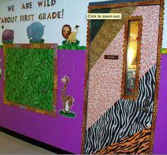 Clutter-Free Classroom: Jungle / Safari Themed Classrooms Cute door: Also website includes ideas for bulletin boards that are jungle themed Animal Print Classroom, Jungle Theme Classroom, Classroom Setup, Kindergarten Classroom, Future Classroom, Classroom Organization, Classroom Helpers, Preschool Teachers, Autism Classroom
