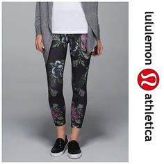 "Lululemon High Times Floral Pants Preowned Lululemon High Times Garden Party Pants  Features:  sweat-wicking, four-way stretch Full-On Luon®fabric gives incredible support and coverage added LYCRA® fibre for shape retention the high-rise fit makes these pants a muffin-top-free zone 7/8-length stays out of your while you practice fit + function fabric(s): Full-On Luon®, Mesh fit: tight rise: high inseam: 25"" leg opening: 91/4""   Worn many times and there is pilling on the crotch area…"