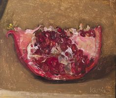 a painting a day: Pomegranate Wedge, 11/17/2014