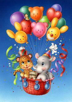 Diamond Painting - Full Round - Animals in Hot Air Balloon Happy Birthday Wishes, Birthday Greetings, Nursery Paintings, Cute Clipart, Tatty Teddy, Birthday Pictures, Cute Illustration, Cute Cartoon, Cute Art