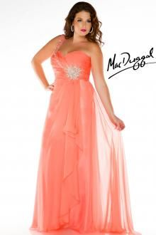 Coral One Shoulder Plus Size Evening Gown