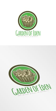 Garden of Eden Green Grocer Logo. Logo showing illustration of a wicker basket full of crop harvest field with festive fruits, vegetables and bread set inside circle done in retro woodcut